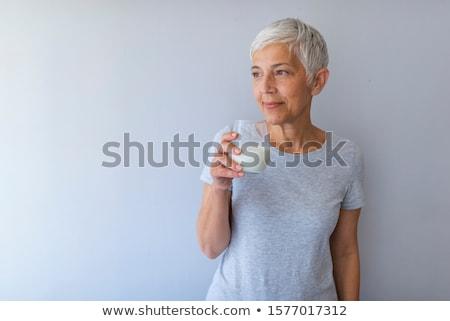 женщину · еды · йогурт · здоровья · молодые · завтрак - Сток-фото © photography33