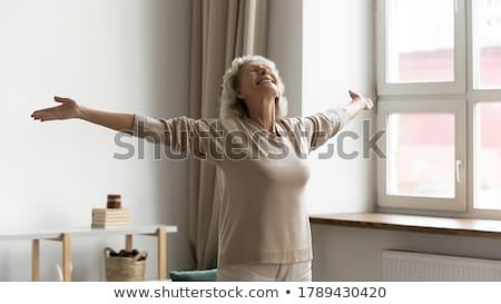 életstílus szabadság izgatott nyugdíjas öregasszony karok Stock fotó © gromovataya
