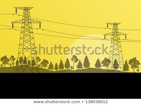 Stock fotó: Tájkép · elektromos · transzformátor · állomás · kék · ég · égbolt