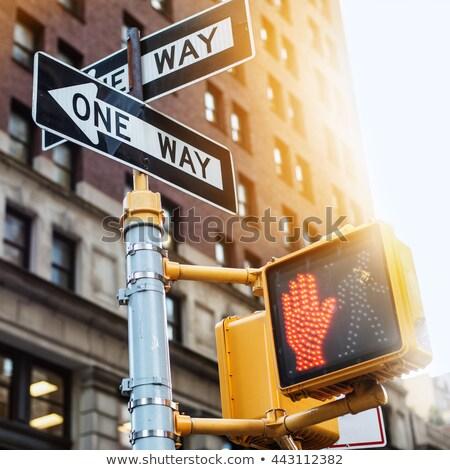 Piros jelzőlámpa egyirányú utca kék ég út utca Stock fotó © meinzahn