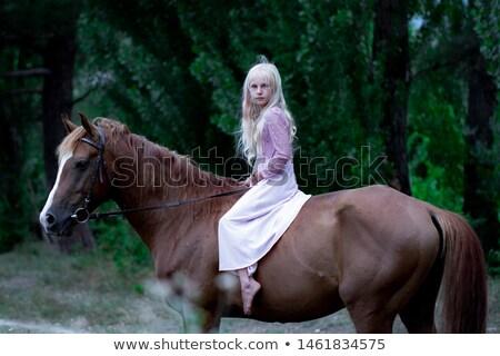 Blond nymph with flowers and horse Stock photo © konradbak