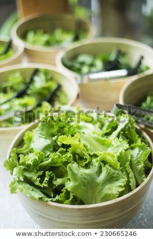 ボウル · 新鮮な · 緑 · サラダ · 行 · ケータリング - ストックフォト © travelphotography