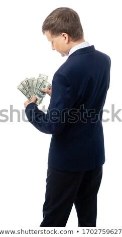 Ricca imprenditore dollari isolato bianco Foto d'archivio © deandrobot