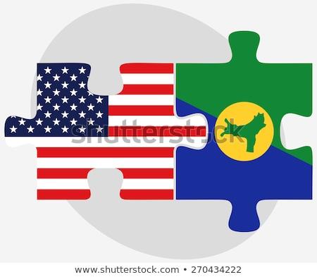 Stock fotó: USA · karácsony · sziget · zászlók · puzzle · vektor