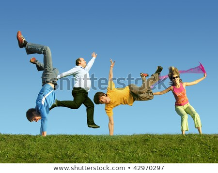 Many jumping people on the grass, collage   stock photo © Paha_L