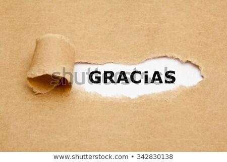 gracias torn paper stock photo © ivelin