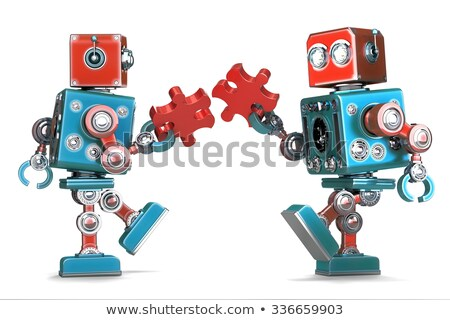 Stockfoto: Retro · robots · stukken · geïsoleerd