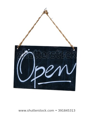 A chalkboard sign on a white background - We are open Stock photo © Zerbor