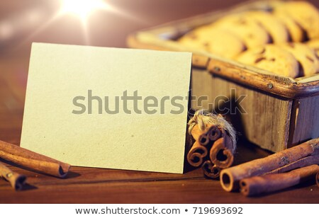 Stock fotó: Close Up Of Oat Cookies And Card On Wooden Table