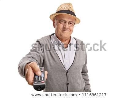 starszy · człowiek · pilota · telewizji · krzesło · portret - zdjęcia stock © candyboxphoto