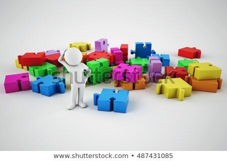 Confondre homme blanc construire société 3D Photo stock © alphaspirit