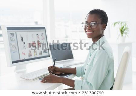 Női szerkesztő asztal iroda magasról fotózva kilátás Stock fotó © wavebreak_media
