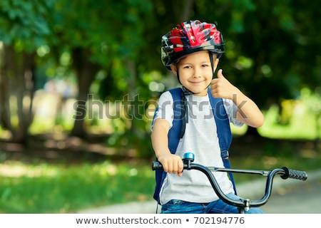 ストックフォト: 子供 · ライディング · バイク · 家族 · 道路