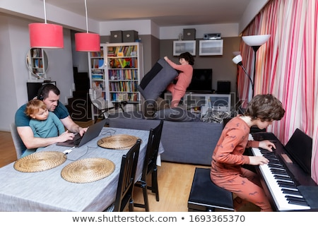 Three toddlers working on laptop Stock photo © IS2