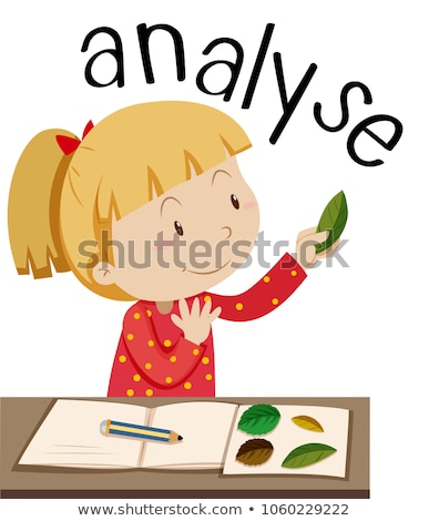 Wordcard for analyse with girl looking at leaves Stock photo © bluering