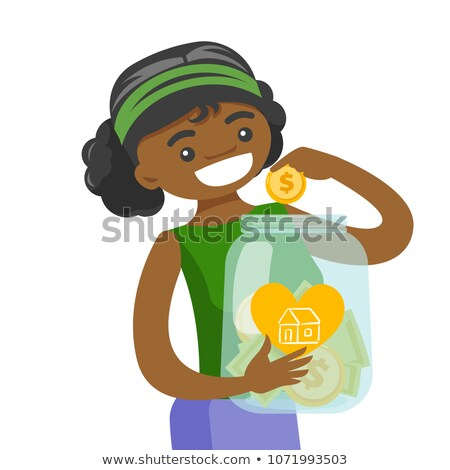 vrouw · besparing · geld · spaarvarken · kopen · huis - stockfoto © rastudio