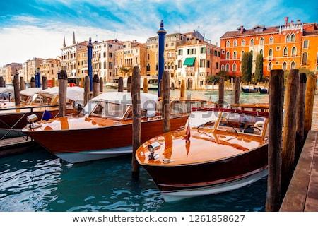 Taksi Venedik venedik tekne kanal gün batımı Stok fotoğraf © Givaga