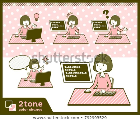 2tone type Straight bangs hair blouse woman_set 4 Stock photo © toyotoyo