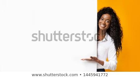 portré · aranyos · üzletasszony · szemüveg · küldés · szöveg - stock fotó © konradbak