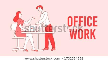 Startup projekt poszter férfi nő munkások Stock fotó © robuart