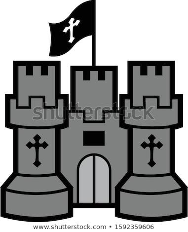 Cartoon черный Knight иллюстрация меч Сток-фото © cthoman