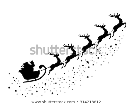 winter landscape santa on a sleigh with reindeer stock photo © liolle