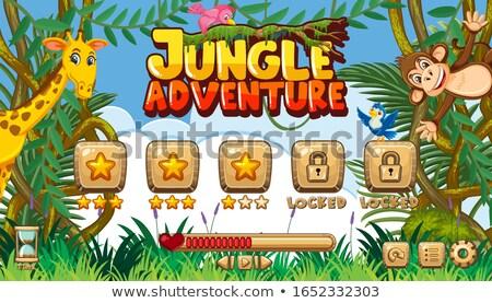 знак шаблон многие животные джунгли иллюстрация Сток-фото © colematt
