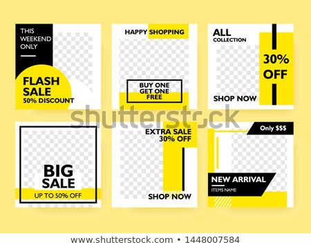 Set of Sale web banners for social media mobile apps. Yellow background sale and discount promo, vec Stock photo © ikopylov