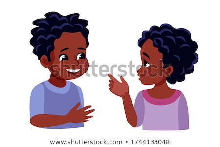 Black, Afro American Boy, Child, Kid Vector. Young. Face Emotions, Various Gestures. Animation Creat Stock photo © pikepicture
