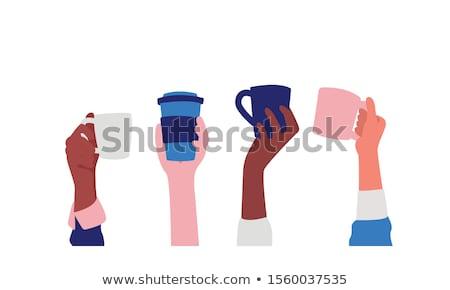 Kávé ikonok eps 10 terv háttér Stock fotó © netkov1