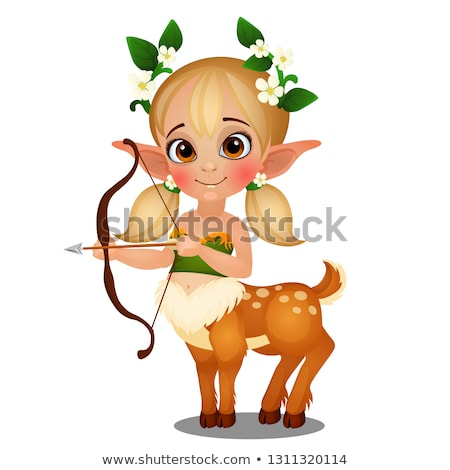 Cute animated elf girl centaur with spotted deer body isolated on white background. Vector cartoon c Stock photo © Lady-Luck