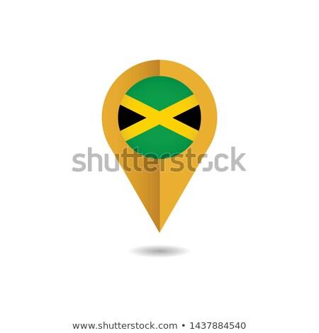 Jamaika harita dünya haritası bayrak pin Stok fotoğraf © kyryloff