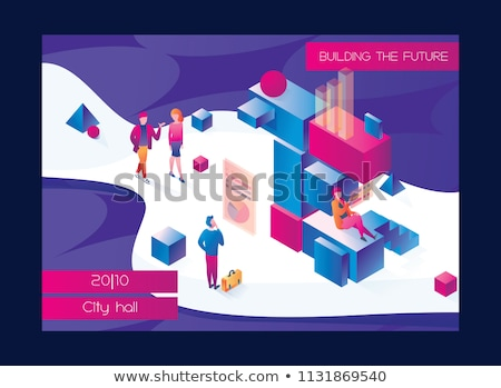 Colorful Bold Cubes Vector Illustration Stock photo © cidepix