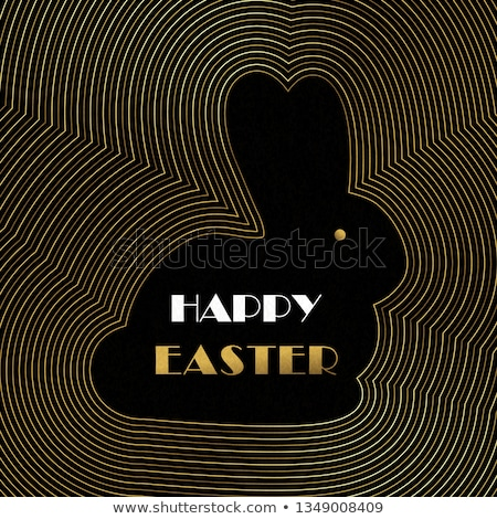 Happy Easter card of gold art deco outline eggs Stock photo © cienpies