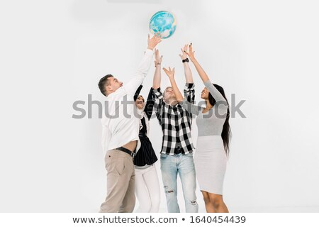 woman throws out planet earth Stock photo © studiostoks