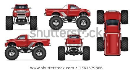 Realistyczny potwora ciężarówka wektora czerwony Zdjęcia stock © YuriSchmidt