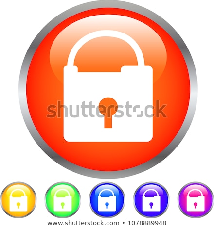 Colorful Shiny round button with padlock mark stock photo © Blue_daemon