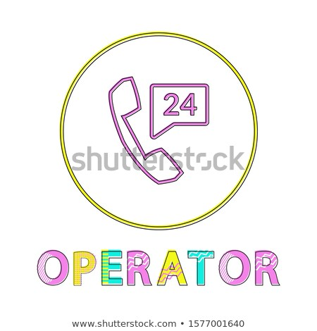 Operator Bright Round Linear Icon with Reciever Foto d'archivio © robuart