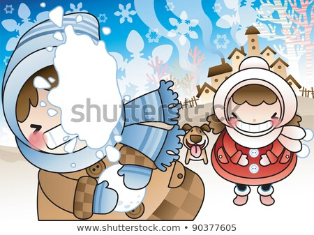 Lány fiú hógolyó illusztráció gyerekek gyermek Stock fotó © adrenalina
