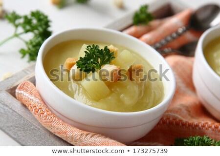 Romig zoete aardappel soep peterselie witte kom Stockfoto © Melnyk