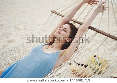 女性 ハンモック 携帯電話 若い女性 白 画面 ストックフォト © AndreyPopov