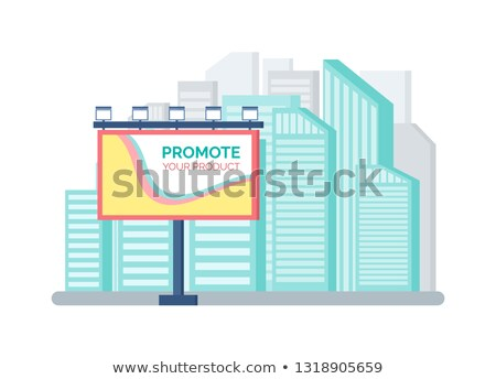 Billboard Standing near Modern Buildings Vector Stock photo © robuart