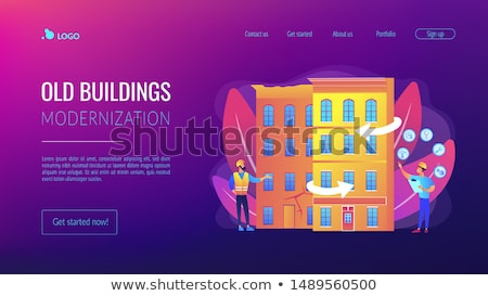 Starych budynków lądowanie strona mieszkaniowy domu Zdjęcia stock © RAStudio