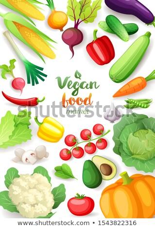 Vegetables top view frame. Vegan food market vertical poster design. Colorful fresh vegetables, orga Stock photo © MarySan