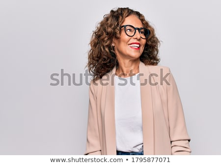 profile of smiling senior woman over white Stock photo © dolgachov