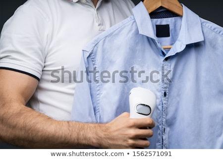 Man shirt elektrische stoomboot Blauw Stockfoto © AndreyPopov