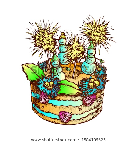 Noël gâteau décoré encre vecteur tarte Photo stock © pikepicture
