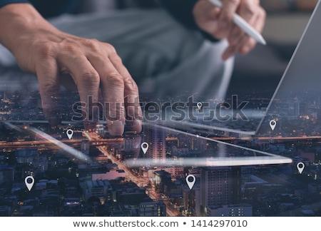 Férfi GPS térkép laptop közelkép navigáció Stock fotó © AndreyPopov