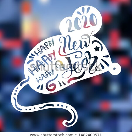 2020 Happy New Year on Mouse Rat Body Form Banner Stock photo © barsrsind