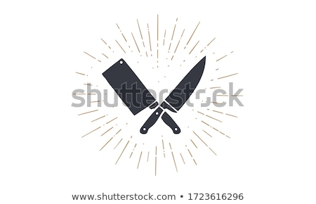 Ingesteld slager messen iconen silhouet Stockfoto © FoxysGraphic